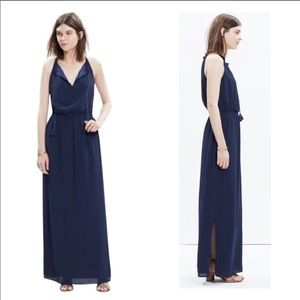 Madewell Navy Tassel Tie Maxi Dress